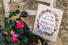 Do more of what makes you happy (Eklis273) Tags: happy glücklich flower blume stuhl chair schild sign saying spruch pink grün green outdoor mascesine gardasee lakegarda lagodigarda italien italy samyang sonya6000