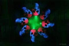 Skulls 2: The return (phill_fisher) Tags: skulls laser rotation camerarotation pink blue green lightpainting lightartphotography lighttrails longexposure singleexposure nophotoshop nopostprocessing noedit