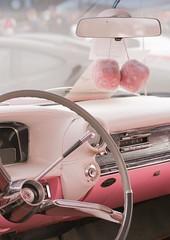 Fluffy Dice (haberlea) Tags: car cadillac pink fluffydice dice wheel interior cute