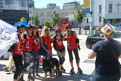 """Plymouth Roller Derby ladies getting ready to skate the Parade Route - Plymouth Pride 2015 • <a style=""""font-size:0.8em;"""" href=""""http://www.flickr.com/photos/66700933@N06/20007905574/"""" target=""""_blank"""">View on Flickr</a>"""