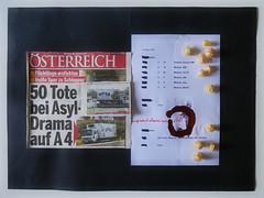 """71 Refugees suffocate in a Transporter 71 Flüchtlinge erstickten im Kühltransporter - und dann: Was für eine Stille! tinte caput mortuum. Physalis Ernte Garten. Probenplan  """"an apple a day keeps the doctor away - An ENSO a Day..."""" 28. August 2015 (hedbavny) Tags: vienna wien art kitchen ink work garden circle japanese austria mirror sketch österreich still silent spiegel kunst refugee diary dream sketchbook note toledo workshop silence cycle letter küche arbeit garten tagebuch tinte lampion transporter flüchtling aktion suffocate physalis kreis migrant stille enso workingroom traum werkstatt gedanke entwurf handschrift skizze japanisch notiz arbeitsraum lampionblume kalligraphie skizzenbuch zwischenbilanz ereignis asyl goldenberries aktionismus schaubild zyklus bestandsaufnahme asylant bilderzyklus caputmortuum ersticken überlegungen kühltransporter hedbavny ingridhedbavny wochenbuch probenplan"""