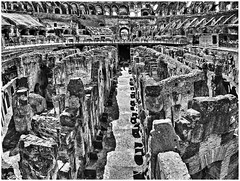 the basement (kurtwolf303) Tags: italien bw italy rome roma building topf25 architecture interestingness interesting topf50 topf75 italia 500v20f interior schwarzweiss gebäude romanempire 800views omd 1000views colosseo kolosseum 900views 750views 1000v40f amphitheatrumflavium 250v10f monochromefineart micro43 microfourthirds olympusem5