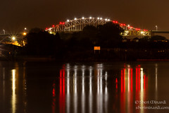 Red and White Arch (sheriminardi) Tags: red white river lights evening waterfront saultstemarie internationalbridge stmarysriver