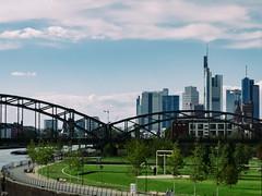 Frankfurt Skyline (Petra Wendt) Tags: sky color colors skyline architecture skyscraper germany deutschland fuji skyscrapers frankfurt main architektur farbe hdr frankfurtammain farben hochhäuser skiesandclouds vsco fujix20 vsco07