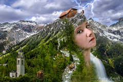 Gaia (Hayley Roberts Photography) Tags: selfportrait alps nature composite photoshop river landscape switzerland earth fineart makeup manipulation howto conceptual retouch retouching trickphotography tutorial liquify dodgeandburn contouring learnphotography frequencyseparation