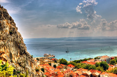 Omis old town (Majorimi) Tags: street old city travel roof sea summer people mountain color building tree rock digital port canon eos boat town high nice colorful ship view hill croatia calm fortress cetina omis 70d