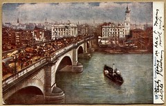 London Bridge postcard (1904) (The Wright Archive) Tags: london bridge postcard vintage 1904 raphael tuck publisher oilette painting cityscape river thames boat edwardian history people uk united kingdom wright archive 1900s