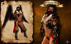 Infernal Armor Female Gold Red vendor (Topa Adamski) Tags: world life red game set wings medieval fantasy virtual armor second knight warrior mage infernal roleplay zbrush platemail