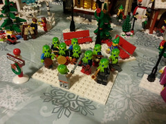 Band (Genghis Don) Tags: christmas trees holiday buildings holidays village lego streetlamps band bakery sweets singers birch carolers moc