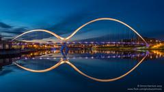 Infinity Reflections (srhphoto) Tags: england unitedkingdom panasonic gb bluehour 2015 m43 thornaby microfourthirds infinitybridge panasonic1442mmmkii panasonicdmcgx8