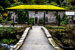 Moss Roof (JKmedia) Tags: bridge autumn trees roof red orange mountains building green mill nature leaves gardens wales river landscape moss path symmetry foliage colourful nationaltrust bodnant sear 2015 boultonphotography