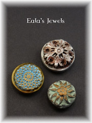 Round antique button magnets (Eala's Jewels) Tags: snowflake old red flower texture metal bronze silver handmade antique verdigris jewelry mandala clay round button faux mold brass magnet patina imitation sapphire oxydation polymer darkening swellegant ealajewels
