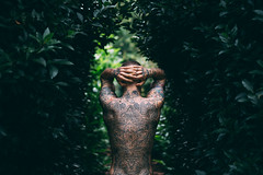 Synthetic Sun (FelixRS) Tags: tattoo tattoos ink tattooed model male nature natural autumn leaves dof sharp dark tone sun green leaf portrait abstract grain sunset symmetry symmetrical