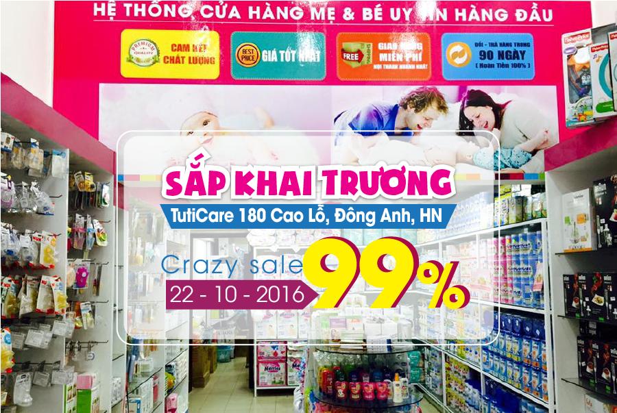 [Khai trương TutiCare Cao Lỗ, Đông Anh] Giá sốc thả phanh - Mua nhanh kẻo lỡ - Crazy Sale 99% (22 - 26/10)
