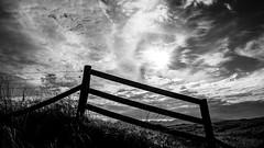 3Bar_Grill (PJT.) Tags: wales newborough warren sedge grass mountains hills snowdonia wood fence wire mesh links dunes marram sun sky clouds flare lens