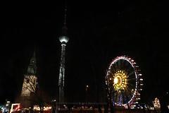 334/366 - Good night to you... (Sinuh Bravo Photography) Tags: canon eos7d berlin fernsehturm xmas winter nightshot alexanderplatz ferriswheel potd2016 ayearinphotos marienkirche
