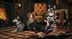 And in the sweetness of friendship let there be laughter, and sharing of pleasures. (Skippy Beresford) Tags: boy child childhood dogs huskies warmth hearth home holidays light love laughter friendship snow play