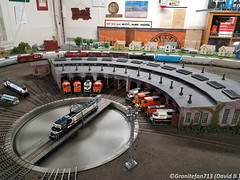 BNSF Power at Roundhouse (Trucks, Buses, & Trains by granitefan713) Tags: modelrailroad hudsonmodelrailroadclub hoscale scaletrain model layout toytrain bnsf burlingtonnorthernsantafe roundhouse power emd ge sd70ace sd70mac gp60m
