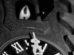 Ready......Aim...... (Kreative Capture) Tags: macromondays arrow fun cuckoo clock hands point time bird nikon d7100 nikkor blackwhite blackandwhite