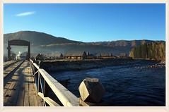 禾木橋   Hemu bridge (C. Alice) Tags: blue village river xinjiang autumn water 2013 sony sky clouds sonynex5r nex5r sonyepz1650mmf3556oss autofocus aatvl01 1000views favorites100 aatvl02 2000views bridge 3000views 3000v120f aatvl03