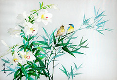 Les moineaux et les lys - Jang Sol Hwa - Broderie (nokoredstar) Tags: aquarelle peinture coréedunord pyongyang paysage broderie