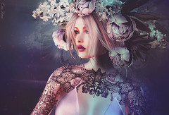 Every rose has its thorns (Eria Ziemia) Tags: entwined femaleavatar flowerheadpiece flowers lode pink portrait rose secondlife virtual whitewidowtattoo blond we3rp