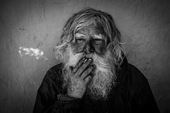 """Old and on the Streets"" (JBS Creative) Tags: homeless photography street smoking puff beard sad begger devon uk england grey blackwhite local old man portrait"