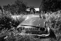Taunus (jarnasen) Tags: fujifilmxt1 samyang12mmf2 tripod wideangle bnw mono monochrome blackandwhite scrap car carwreck ford taunus scrapyard outdoor house bstns sverige sweden vrmland copyright jrnsen jarnasen archive old vintage grass field derelict abandoned mood processed conversion vehicle