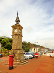 Sandown, Isle of Wight (photphobia) Tags: sandown isleofwight town oldtown uk oldwivestale buildings building buildingsarebeautiful architecture outdoor outside village sandownbay seafront waterfront beach holiday clocktower postbox red clock