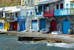 Seaside garages (jocelyncoblin) Tags: greece milos cyclades seashore boat travel color klima saariysqualitypictures