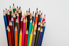 Pencils (Mukumbura) Tags: pencils crayons drawing art colours community together diverse varied diversity blue black red orange brown yellow green lime turquoise vermillion pink olive fuchsia crowd mixed height length sharp points sharpened gettyimages bright vivid