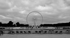 Tuileries, Paris (Lars de Bereaux) Tags: paris france blackandwhite city urban morning empty abandoned monochrome tuileriesgardens chairs pond lourve placedelaconcorde