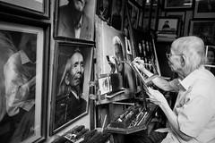 The painter @ Hanoi (PaulHoo) Tags: hanoi vietnam city urban citylife bw monochrome blackandwhite contrast people men fujifilm x70 2016 asia portrait streetportrait streetcandid candid painter art artist painting