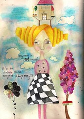 not messy (artwolf2009) Tags: moleskine girl collage painting mixedmedia whimsical artjournaling