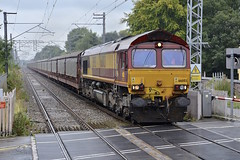 Diverted Cars (wwatfam) Tags: railroad england news station electric train crossing cheshire diesel britain 66 class level locomotive railways freight dibs alsager 66003