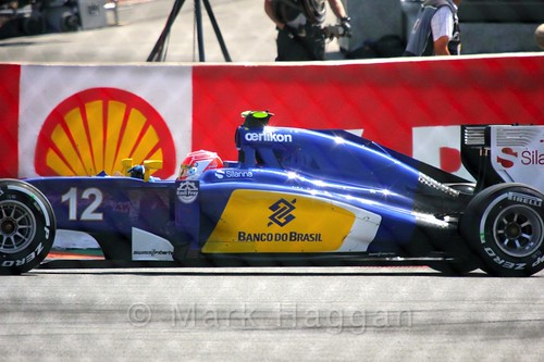 Felipe Nasr's Sauber during the Green Flag lap before the 2015 Belgium Grand Prix