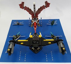 Battle Of The Blue Delta (Hendri Kamaluddin) Tags: monster dragon lego fantasy squadron moc fighterplane skyfi fantasycreature fantasyplane fantasybattle victorysquadron