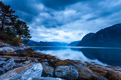 Evening by the fjord (Steinskog) Tags: summer mountains water norway night clouds silence fjord rauma romsdal romsdalsfjorden