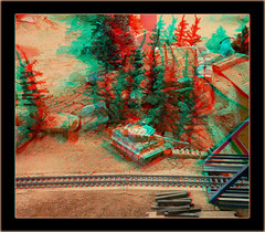Danville AAF Tank Museum RC Battlefield German Tiger I Railroad Trestle Protector - Anaglyph 3D (DarkOnus) Tags: railroad trestle bridge scale museum lumix virginia stereogram 3d tank tiger wwii battle anaglyph panasonic stereo danville german armor battlefield stereography props 116 aaf dmcfz35