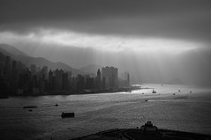 Untitled (Howard Yang Photography) Tags: light bw hk skyline clouds hongkong nikon kowloon kowloonbay hongkongskyline