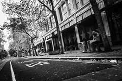 Street Perspectives (TMimages PDX) Tags: road street city autumn people urban blackandwhite monochrome buildings portland geotagged photography photo image streetphotography streetscene sidewalk photograph pedestrians pacificnorthwest avenue fineartphotography iphoneography
