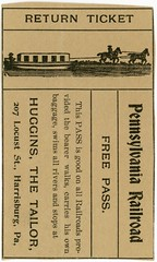 Free Pennsylvania Railroad Pass, Huggins the Tailor, Harrisburg, Pa., 1906 (Rotated) (Alan Mays) Tags: ephemera newspaperclippings newspapers clippings advertising advertisements ads railroadpasses freepasses free passes tickets admissiontickets admissions railroadiana paper printed pennsylvaniarailroad railroads railways trains canalboats boats canals horses animals travel transport transportation parodies humor humorous funny borders illustrations huggins edgarjhuggins hugginsthetailor tailors locuststreet harrisburg pa dauphincounty pennsylvania 1906 1900s antique old vintage typefaces type typography fonts