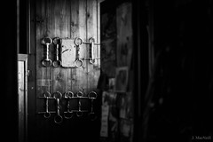 bits (Jen MacNeill) Tags: blackandwhite bw horse stable farm equestrian tackbit bits wall tack room