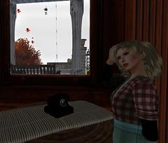 Dead phone (Teddi Beres) Tags: life morning autumn woman fall window girl mystery table phone telephone foggy eerie swing retro creepy spooky sl blond porch second bluff investigator blacklichen