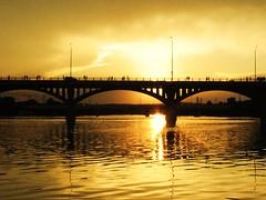Sunset in Austin at Congress Av Bridge (d1pinklady) Tags: bridge sunset cloud austin river colorado texas tx congress avenue bats