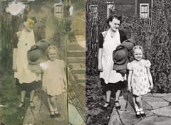 moorci_midlandbeach_20130413_001_mc_cr_DKv1_st_splice (CARE for Sandy) Tags: grandma two blackandwhite girl hat standing photoshop vintage outside outdoors happy child dress stuck duo hurricane mother apron h granddaughter grandchild maryjanes damaged c2 shrubs photorestoration shrubbery reconstruction overlappingphotos