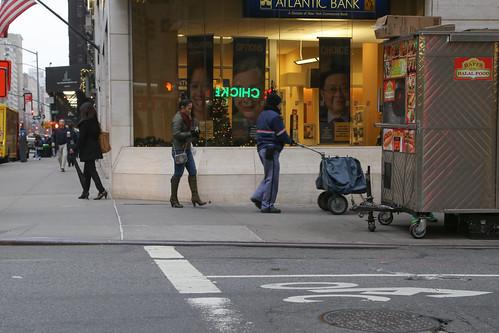People on the Park Avenue Sidewalk.