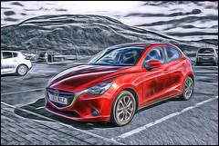 Mazda 2 (Billy McDonald) Tags: fractalius glasgow mazda2 selectivecolour campsieglen car