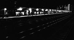 Night Station (Dalliance with Light) Tags: iso1600 newbrunswick train nj night trainstation trix zeissplanartf14zf windows diafine scans bw nikonfm2 film railroad newjersey unitedstates us