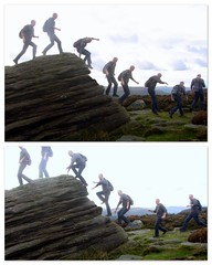 What goes up... (Mike-Lee) Tags: clones clone peakdistrict cloningabout mike jill overowlertor running jumping oct2016 collage picasa